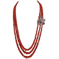 Coral Pearl Amethyst Diamond Rose Gold Silver Necklace