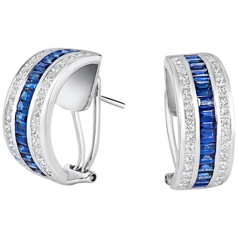 Tivon 18 Carat Gold Diamond and Blue Sapphire Channel Set Pin and Clip Earrings