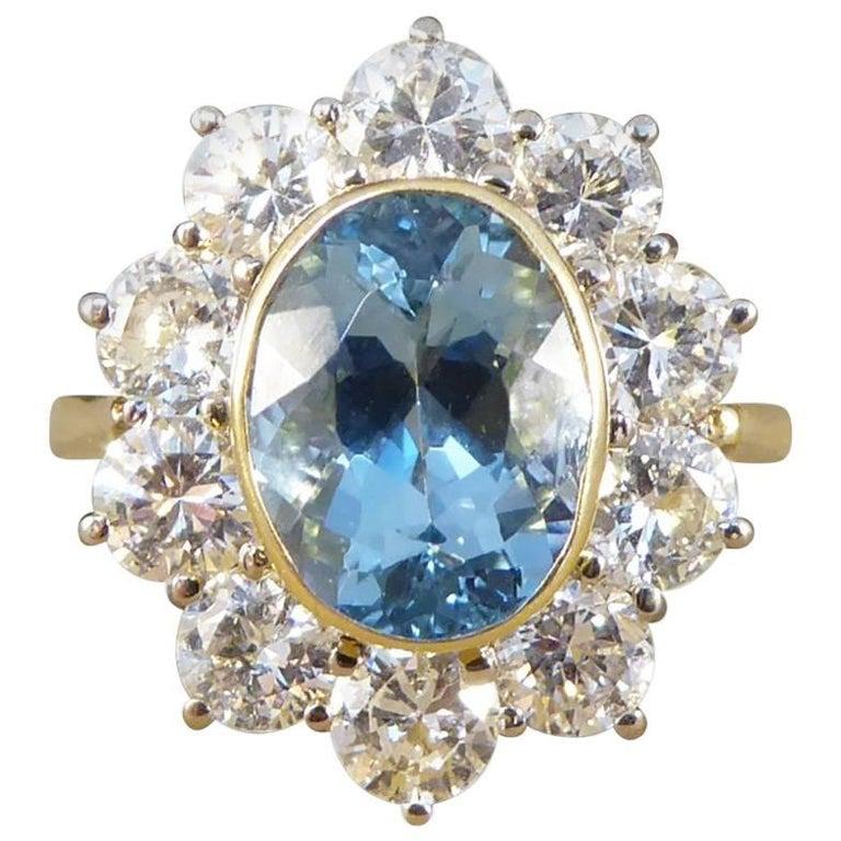 Aquamarine and Diamond Cluster Ring in 18 Carat Gold