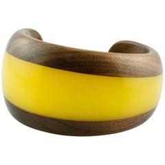 Wood and Yellow Methacrylate Cuff Bracelet