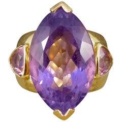 Large Amethyst, Pink Tourmaline and Diamond 18 Carat Yellow Gold Ring