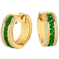 Tivon 18 Carat Yellow Gold Round Diamond and Round Emerald small hoop earrings