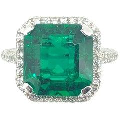 4.41 Carat Emerald Diamond Cluster Ring