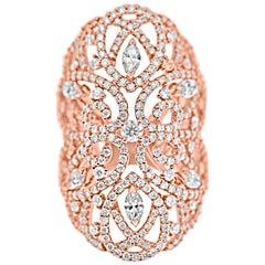 18 Karat Rose Gold and Diamonds Lace Statement Ring