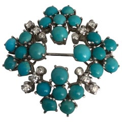 White 18 Karat Gold Brooch with White Diamonds and Turquoise