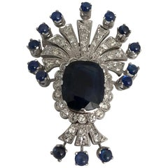 White Gold Brooch with White Diamonds Blue Sapphires