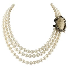 Pearl Diamond Emerald Cameo Rose Gold and Silver Necklace