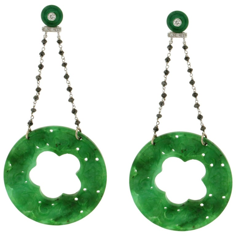 Jade Gold Diamonds Drop Earrings