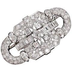 French Art Deco Diamonds Platinum Brooch