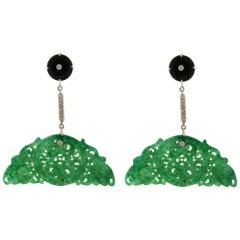 Jade 18 Carat White Gold Onyx Diamonds Drop Earrings