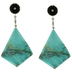 Turquoise 18 karat White Gold Onyx Diamonds Drop Earrings