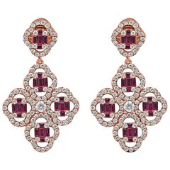 18Kt Rose Gold Diamond and Ruby gemstones Dangling Clover Push-Back Earrings