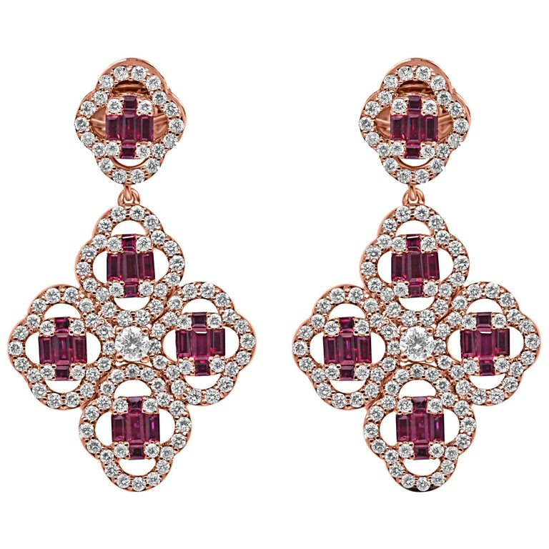 18Kt Rose Gold Diamond and Ruby gemstones Dangling Clover Push-Back Earrings