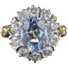 Antique Victorian Aquamarine Cluster Ring Diamond 18 Carat Gold, circa 1900