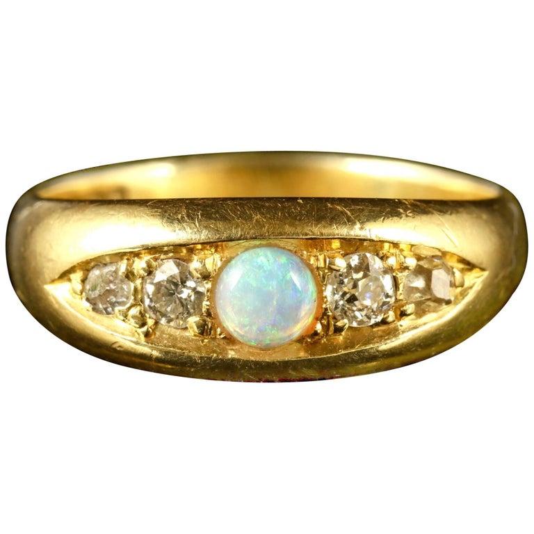 Antique Victorian Opal Diamond Ring Dated Birmingham, 1909