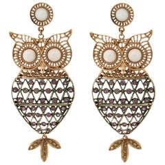 Owl  9 Carat Yellow Gold Drop Earrings