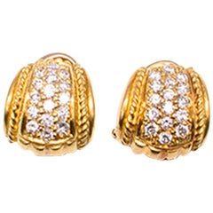 Judith Ripka 18 Carat Yellow Gold Pave Diamond Earrings