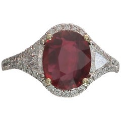 Pigeon's Blood 3.04 Carat Red Ruby GRS No Heated Certified Three-Stone Rings