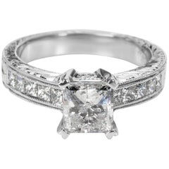 GSI Certified Tacori Princess Diamond Engagement Ring in Platinum 2.00 Carat
