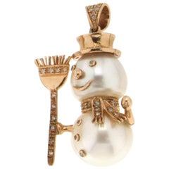 Pearls Gold Diamonds Snowman Pendant Necklace