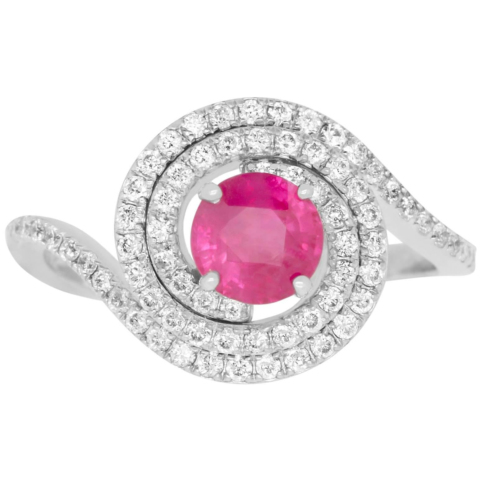 White Gold Fancy Pink 0.43 ct Diamond and 0.49 ct Diamond Ring For ...