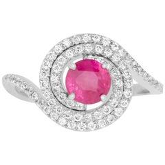 0.98 Carat Round Ruby and 0.43 Carat White Diamond Ring