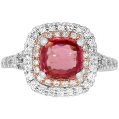 1.72 Carat Cushion Cut Padparadscha Sapphire and 0.55 Carat Diamond Ring
