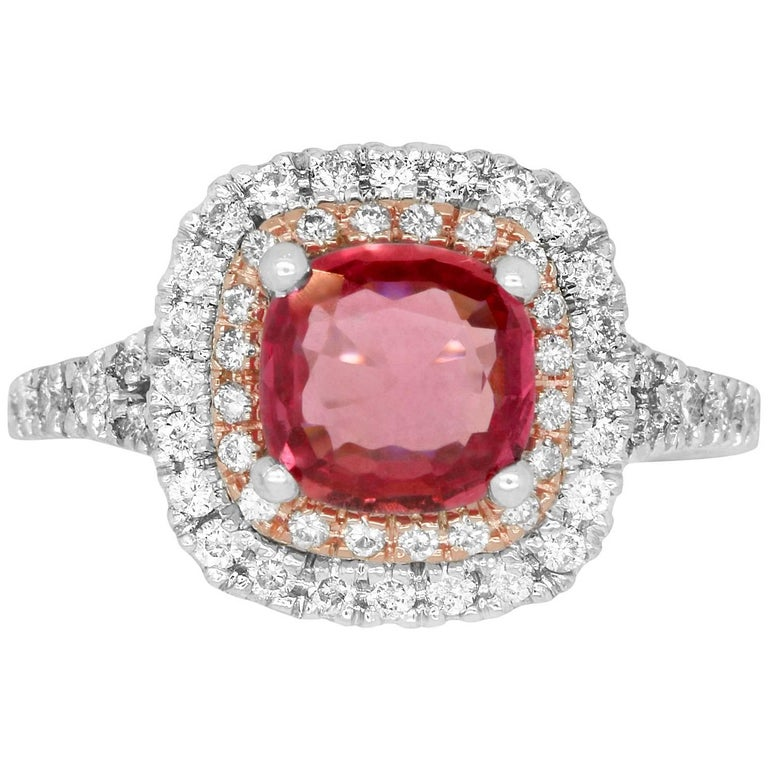 1.72 Carat Cushion Cut Padparadscha Sapphire and 0.55 Carat Diamond Ring