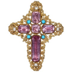 Georgian Pink Topaz Cross Pendant Brooch with Peal and Turquoise