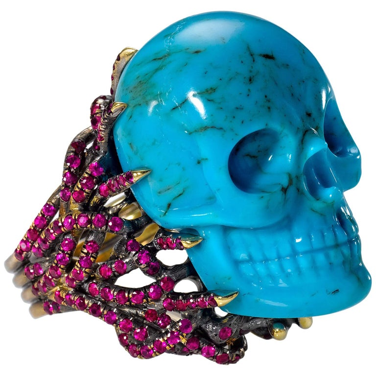 Wendy Brandes One-of-a-Kind Hand-Carved Turquoise Skull and Ruby Gold Ring