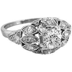 Art Deco .45 Carat Diamond Antique Engagement Ring Platinum