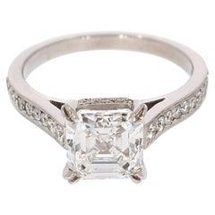 GIA Certified 2.24 Carat Asscher Cut Diamond Engagement Ring