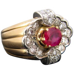 Retro Ruby Diamonds Brilliant Bold Ribbed Gold Platinum French Ring