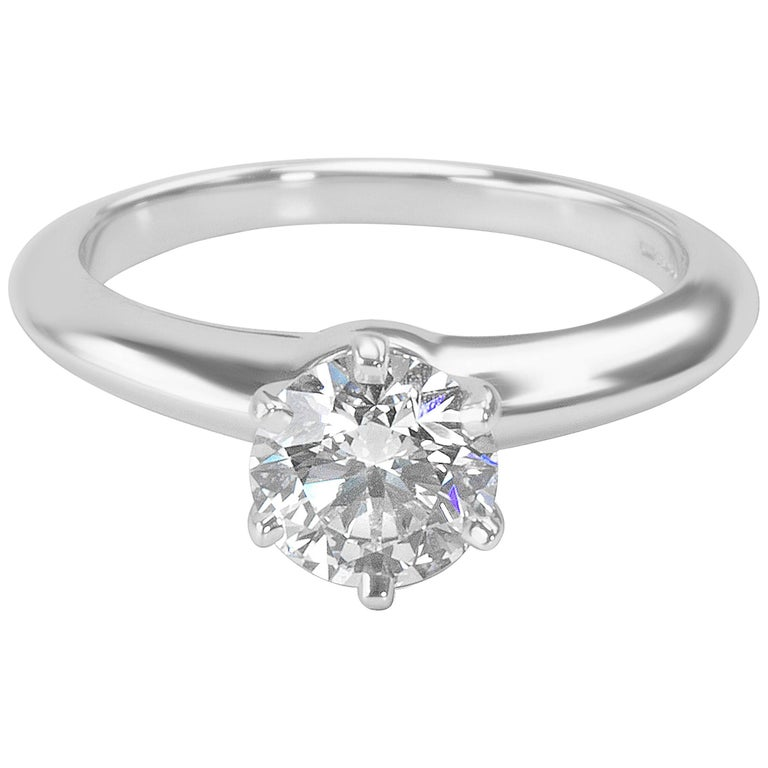 Tiffany & Co. Solitaire Diamond Engagement Ring in Platinum G VVS1 0.96 Carat
