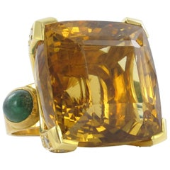 Massive Citrine and Diamond Yellow Gold Ring