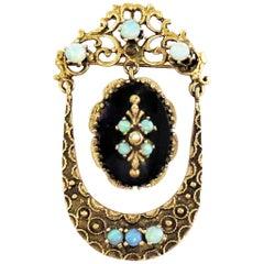 Victorian Opal and Onyx Pin / Pendant / 14 Karat Yellow Gold