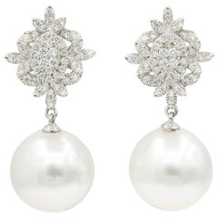 Impressive Diamond Cluster Dangle Pearl Earrings