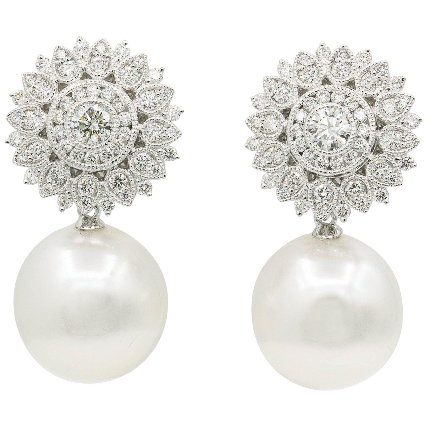 Diamond Sunflower with South Sea Pearl Drop Earrings 1.35 Carats 18K