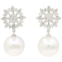 Diamond Cluster Marquise Shape Star with South Sea Pearl Dangle Earrings