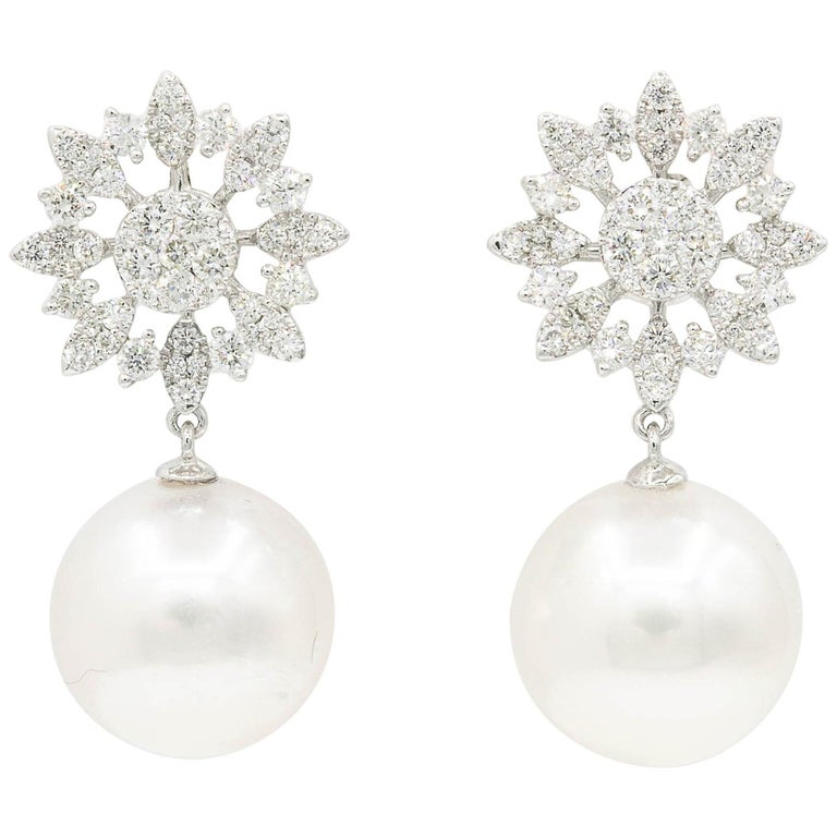 bb7d518a0 Diamond Cluster Marquise Shape Star with South Sea Pearl Dangle Earrings  For Sale