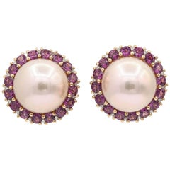 Rhodolite and Cultured Pearl Studs Earrings