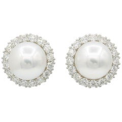 South Sea Pearl with Halo Diamonds Studs Earrings