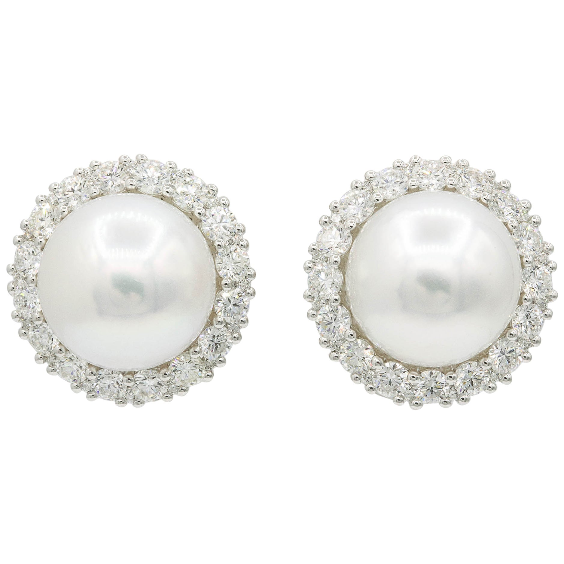 South Sea Pearl Diamond Halo Stud Earrings 2.75 Carats 18K