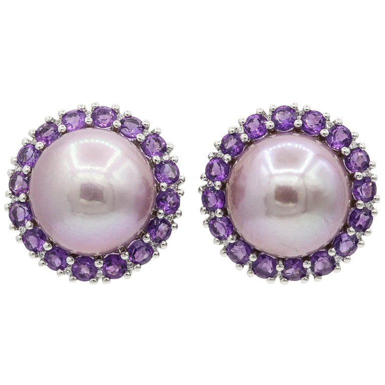 Amethyst And Pink Freshwater Pearl Diamond Studs Earrings For