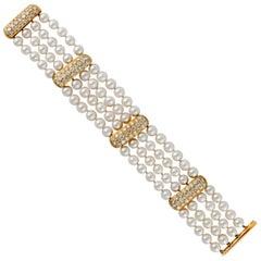 Four-Strand Pearl Diamond Bracelet