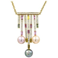 Multi-Color Pearl, Colored Stone and Diamond Necklace in 18 Karat Yellow Gold