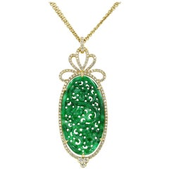 Large Oval Green Jade and Diamond Necklace in 18 Karat Yellow Gold
