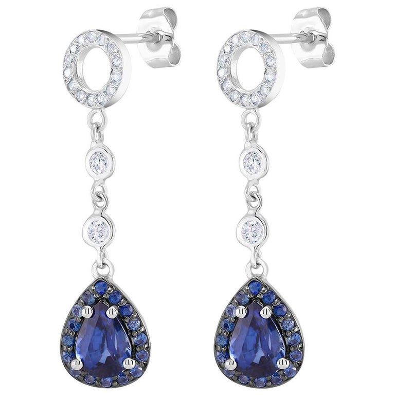 Diamond Pear Shape Sapphire Gold Drop Earrings