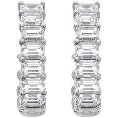 Emilio Jewelry Emerald Cut Inside Out Diamond Hoop Earrings