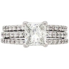1.52 Carat Natural Princess Cut Diamond Engagement Ring EGL Certified VS1/H